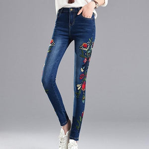 EXOTAO Embroideried Pencil Jeans for Women High Waist Skinny Denim Pants Plus Size Ankle-Length Pantalones Stretch Jeans Female-rodewe