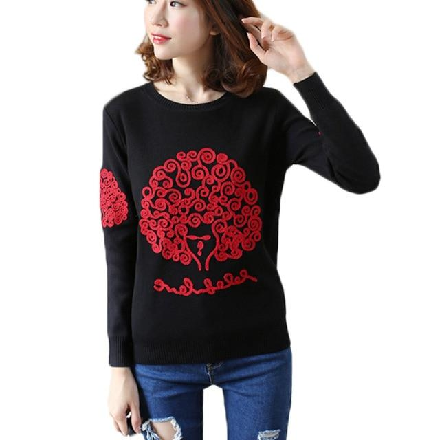 Women Autumn Winter Embroidery Knitted Pullover Sweaters Ladies Crochet Warm Thick With Velvet Sweater Female High Quality-rodewe