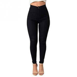 Women Sexy High Ultra-thin Elastic Ankle-length Pants Fashion Girls Pure Color Slim skinny jeans pencil pants-rodewe