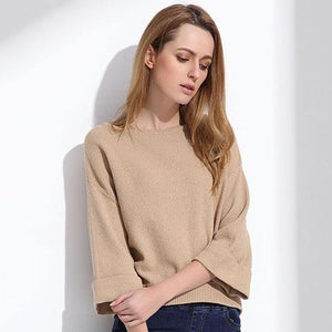 Wide Sleeve Sweater Beige For Women Slash Neck Collar Pullover Knitting Tops Sueter Mujer Jumper Loose Sweater Autumn GAREMAY-rodewe