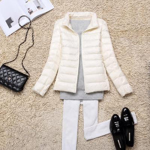 LEFT ROM new Fashion women keep warm Super light thin 90% White duck down down jacket/Women stand collar Casual down coat S-XXXL-rodewe