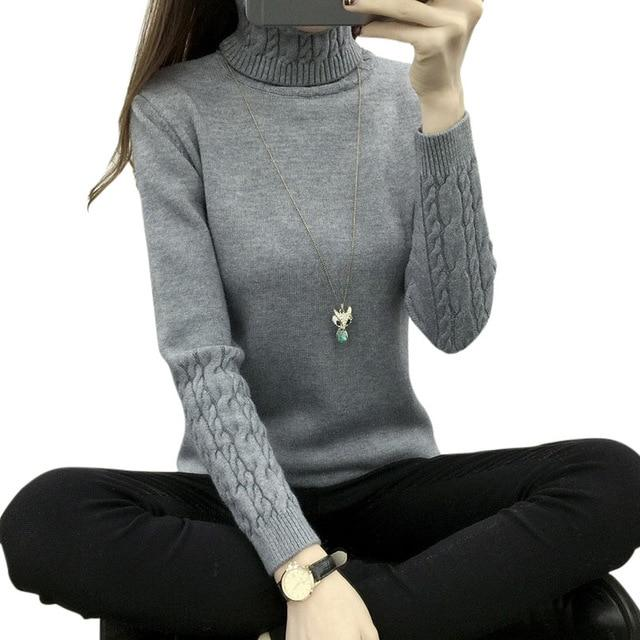 Women Turtleneck Winter Sweater Long Sleeve Knitted Pullovers Jumper Tricot Knitwear Tops H9-rodewe