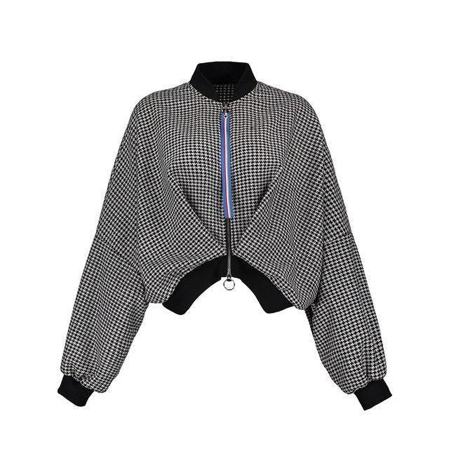 Modstreets EURO Style Batwing Sleeve Short Jacket Coat Winter Women Loose Short Plaid Jacket Coat Female Outwear Casual Coat-rodewe