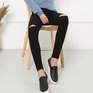 2017 Cotton High Elastic Imitate Jeans Woman Knee Skinny Pencil Pants Slim Ripped Jeans For Women Black Ripped Jeans XXXL JN079-rodewe