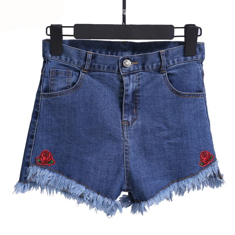 Denim shorts Flower Embroidered Shorts Jeans Women Slim Casual Boho Blue Denim For Feminine Lady Flora Stretchy Waist Ripped-rodewe