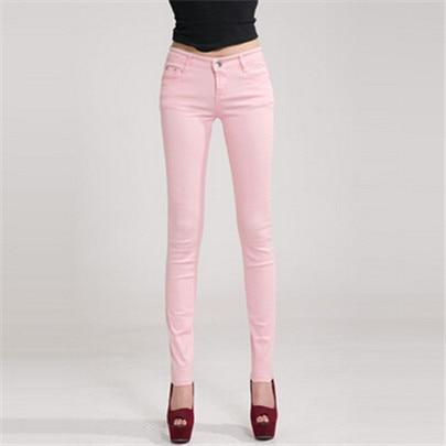NDUCJSI Casual Jeans Women Jeans Cotton Pencil Legins Femme Skinny Jeans Mid Waist Woman Slim Fit Woman Full Length Candy Color-rodewe