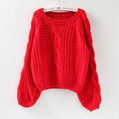 10 Colors Women Sweaters Lantern Sleeve Solid Warm Round Collar Winter Vintage Knitted Pullover Beige Sweaters Crop Tops C7N505A-rodewe