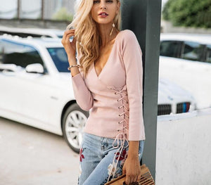 Simplee Causal lace up v neck knitted sweater women Slim skinny winter sweater jumper 2017 Autumn knit pull femme pullover-rodewe