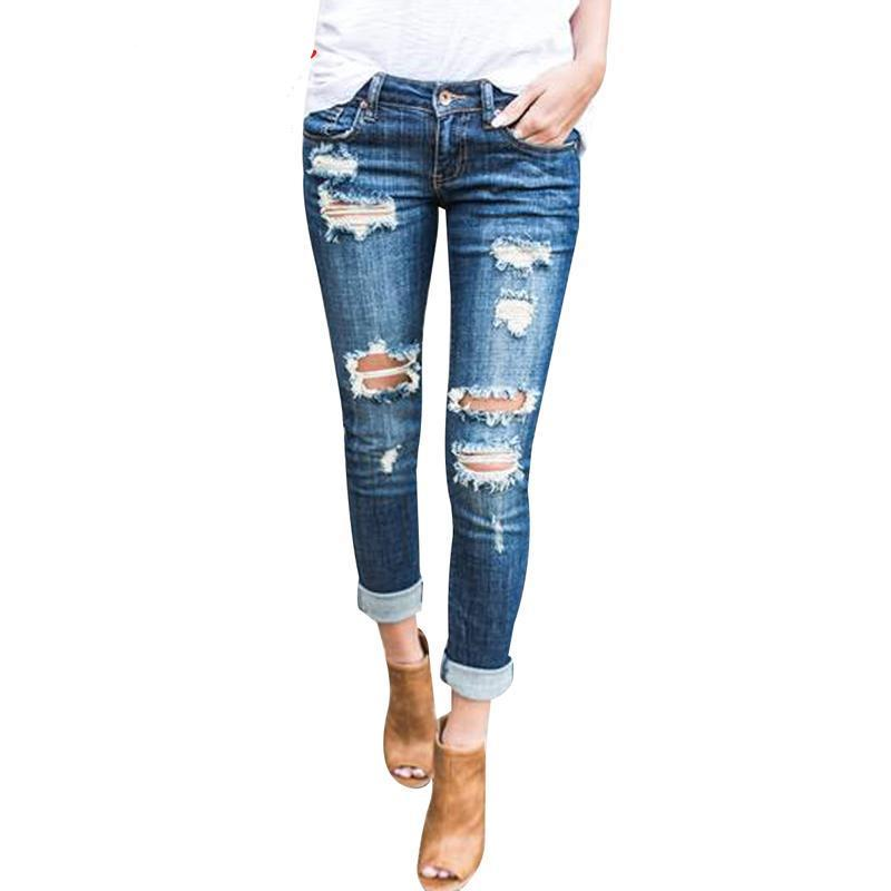 Burvogue Fashion Low Waist Distressed Jeans New Ladies Cotton Denim Pants Stretch Womens Ripped Skinny Denim Jeans Trousers-rodewe
