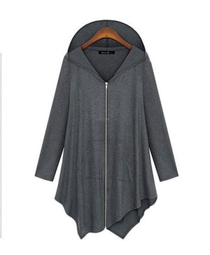 2017 New Women Knitted Loose Sweaters Pockets Long Sleeve Zipper Coat Casual Irregular Plus Size Hooded Dropped Cardigans-rodewe
