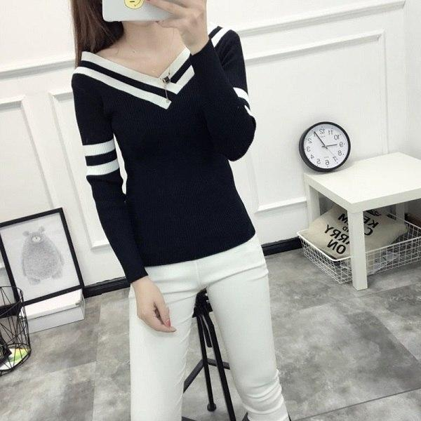 0d70a7a1b6 2017 New Autumn Winter Woman s Sweater Bottoming Pullovers Slim Sweaters V-Neck  Sexy Long Sleeves