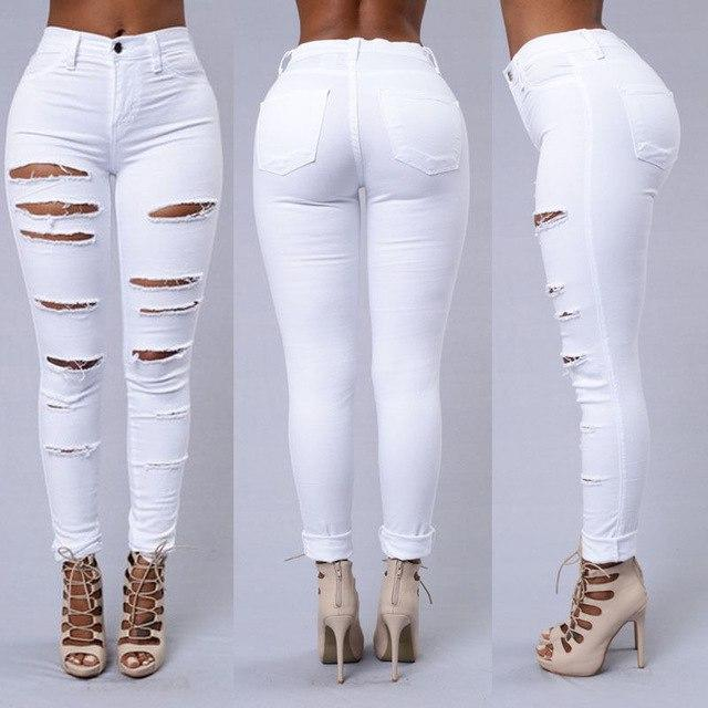 2018 Slim Jeans for Women New Fashion Summer Ripped Skinny Denim Jeans Sexy Hole Jeans White Black High Waist Pencil Jeans-rodewe
