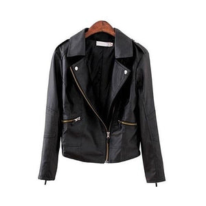 2018 New Fashion Turn Down Collar Women Leather Jackets Slim PU Leather Motor Jacket for Women Casaco Feminino Size 3XL, CB018-rodewe