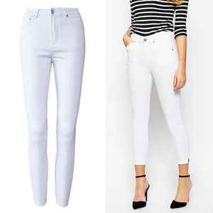 Office Lady High Waist White Jeans Women Top Quality Cotton Slim Elasticity Skinny Denim Leisure Simple Push Up Pantalon Femme-rodewe
