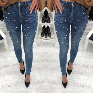 Black push hip Beading pearl jeans woman Casual pocket skinny pencil jean with high waist pants Autumn 2018 jeanse women bottom-rodewe