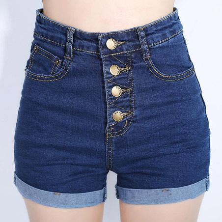 YuooMuoo 2018 Fashion 4 Buttons Retro Elastic High Waist Shorts Feminino Denim Shorts for Women Loose Plus Size Blue Jeans Short-rodewe