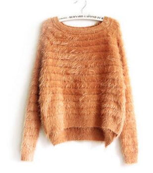 Women Mohair Pullovers O Neck Autumn And Winter Long Sleeve Sweater Female Casual Brand Clothing Kawaii Lolita Shirt Sweaters-rodewe