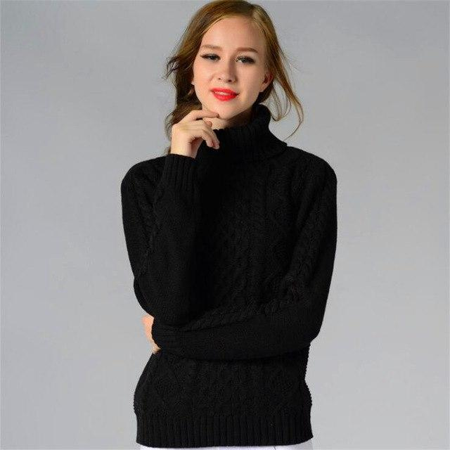 New Women's Pure Color Thick High-necked Knit Sweater Fashion Turtleneck Long-sleeved Shirt Pullovers Sweater For Female Winter-rodewe