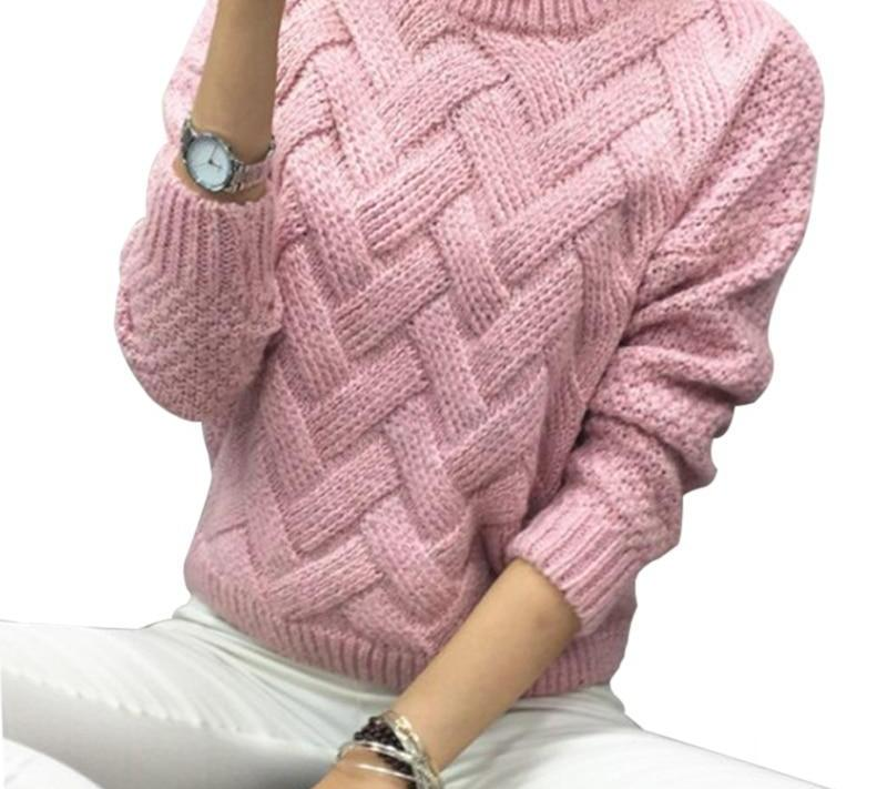 Vodiu Women's Sweater Female Winter Woman Sweater Pullover Long Sleeve Knitting Stripe Solid Casual Fashion Warm 2017 New Hot-rodewe