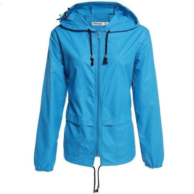 Meaneor Women Rain Coat 2017 Autumn Thin Windbreaker Waterproof Rain Jackets Winter Lightweight Rain coats Rainwear cortavientos-rodewe