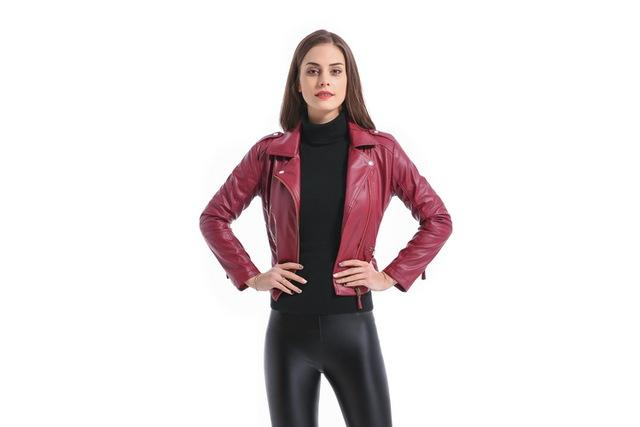 Grandwish Women Leather Jacket Plus Size 4XL Short PU Leather Jacket Woman Female Moto Turn-down Collar 2018 New Spring,CB018-rodewe