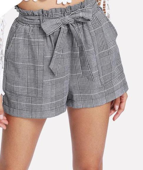 SHEIN Grey Woman Shorts Spring Summer Straight Leg Bottom Mid Waist Casual Self Belted Plaid Hot Knot Pocket Shorts-rodewe