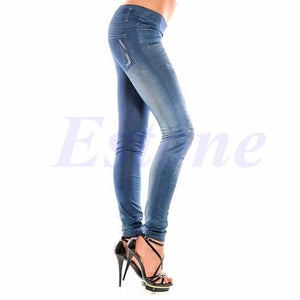 2018 new arrival Sexy Women Denim Look Jeans Ripped Skinny Jeggings Stretchy Slim Leggings Pants-rodewe