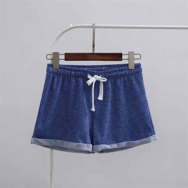 YGYEEG Summer Street Fashion Shorts Women Elastic Waist Short Pants Women All-match Loose Solid Soft Cotton Casual Short Femme-rodewe