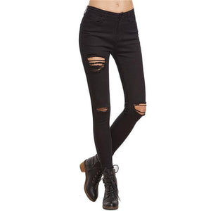 COLROVIE Black Ripped Skinny Denim Jeans Women Mid Waist Button Fly Casual Long Trousers 2018 Spring Plain Jeans Pants-rodewe