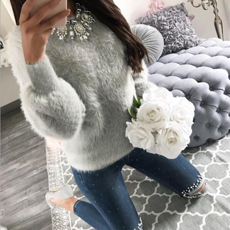 2018 Fashion Long Sleeve Sweaters Women Knitwear Plush Jumper Pullover Solid Casual Loose Shirt Soft Sweater-rodewe