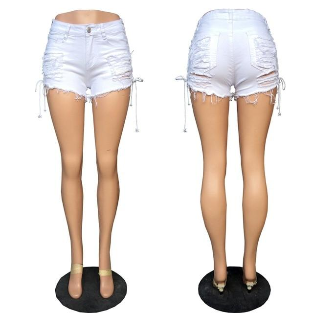 Sexy summer Plus Size women denim black White ripped short jeans high waisted tassel elastic lace up bandage club hotpants-rodewe