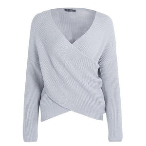 Simplee Cross v neck knitted winter sweater women Down sleeve pull femme christmas sweater Autumn 2017 pullover casual jumper-rodewe