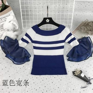 2018 New off shoulder cropped knitted shirt white sweater tops women slash neck sexy flare sleeve striped pullovers korean blusa-rodewe