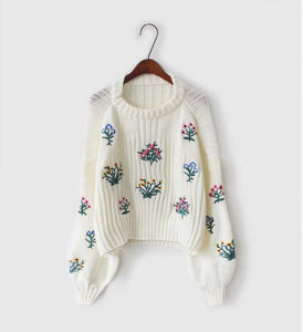 autumn new Korean embroidery short paragraph sleeve long-sleeved sweater-rodewe