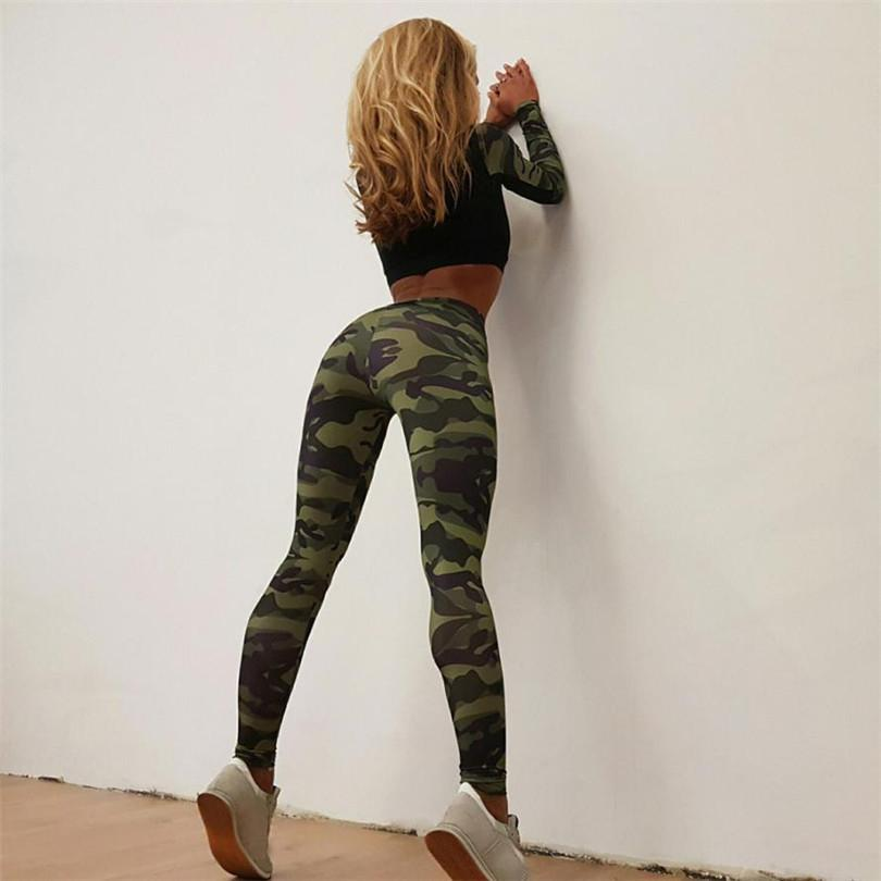 Chamsgend 2017 New Jeans Pants Women Pencil Elastic Waist Tracksuit Camouflage Stitching Sweatshirt Wear Pants-rodewe