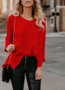 Women Spring Sweater Red Thin Sweaters Female V-neck Solid Knitting Jumpers Long Sleeves Loose Knitted Fashion Casual Pullovers-rodewe