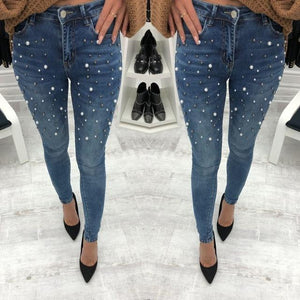 2Color Denim Pencil Pants Ladies Casual Slim Fit Rivet Pearl Jeans 2018 Summer Long Trousers For Women-rodewe