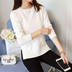 JOLINTSAI 2017 Autumn Winter New Sweater Women Long Sleeve O-Neck Solid Women Sweaters And Pullovers Female Knitwear Pull-rodewe