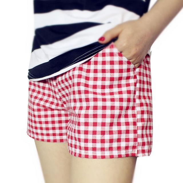 Fashion Women Plaid Shorts Casual Loose Elastic Waist All-Match Summer Cotton Short Pants Plus Size 4XL H9-rodewe