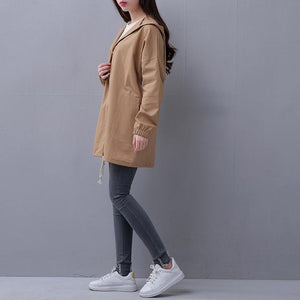 EXOTAO Spring 2017 New Women Jacket Drawstring Hem Long Sleeves Hooded Coat Spring Lightweight Windbreaker Jaqueta Feminina-rodewe