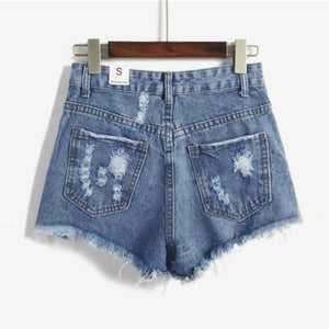 Women Summer Denim Shorts European and American BF Style Female High Waist Denim Shorts Women Worn Loose Burr Hole Shorts-rodewe