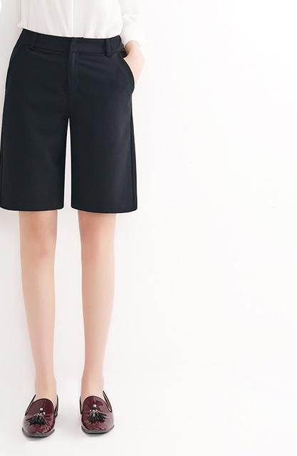 YERAD Bermuda Shorts Summer Knee Length Office Lady Fashion Loose Shorts Women Mini Trousers with Pockets-rodewe