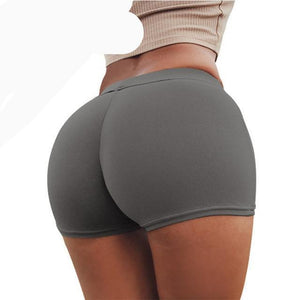 CHRLEISURE Push Up Shorts Women Spring 2018 Polyester Solid Europe and the United States Soft Sexy Workout Female Shorts-rodewe
