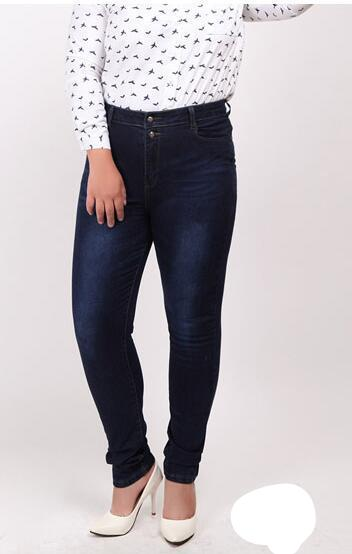 Big plus size women blue & black jeans L-5XL denim pants spring autumn wear full length fashion push up jeans trousers WICCON-rodewe