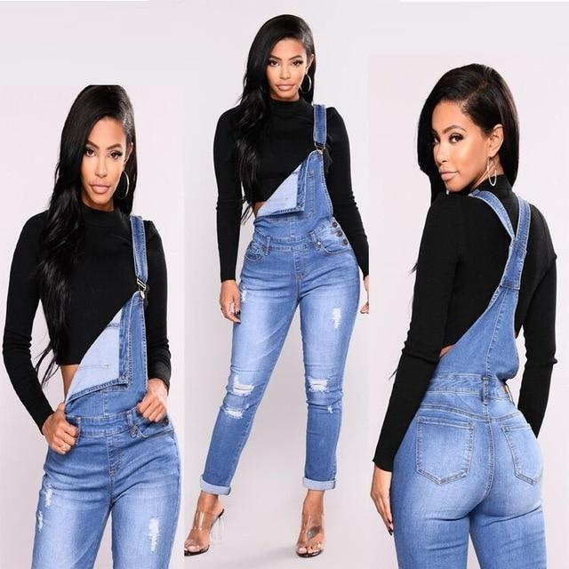 CF1 2018 Plus Size Casual Women Regular Bleach Ripped Jeans Pant Slim Stretch Cotton Denim Trousers For Woman Blue Overalls 3XL-rodewe