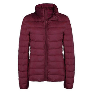 Free Ostrich Winter White Duck Down Jacket Women Stand Collar Long Sleeve Zipper Casual Slim Solid Outerwear Coat Female-rodewe