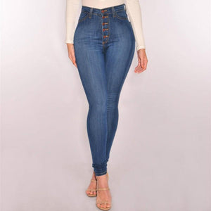 England Style Slim High Waist Skinny Jeans Women Push Up Sexy Button Plus Size Vintage Pencil Pants Mujer Cotton Denim 2018 New-rodewe