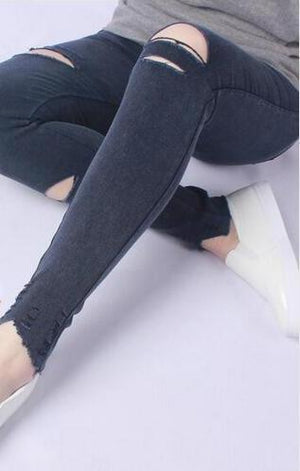 2018 Spring Black Ripped Jeans Women Holes In Knees Tight Denim Pants Femme High-Waisted Jeans Destroyed Trousers Female-rodewe