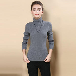 Women Sweater Long Knitted Wool Sweater Crochet Mujer 2017 Autumn Women Fashion Tops Turtleneck Sweater New Autumn Winter Warm-rodewe