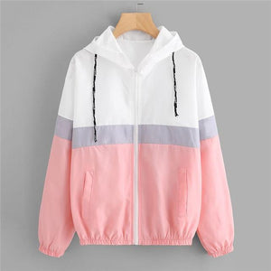 SweatyRocks Color Block Elastic Waist Drawstring Jacket 2018 New Fashion Multicolor Zipper Woman Clothing Ladies Spring Jacket-rodewe